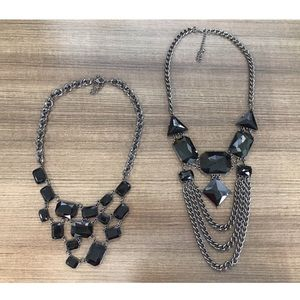 Black stone statement necklace (2 pack)
